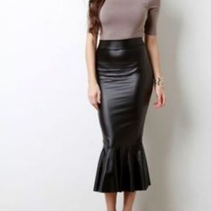 Asos London Leather Look Skirt with Ruffles